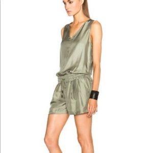 Rag & Bone green silk romper, size 4, NWOT